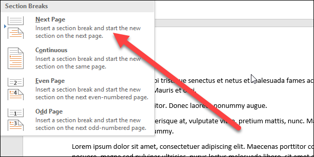 حذف سربرگ و پاورقی و گزینه Next Page