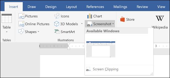 Screenshot در ورد و تصویر کوچک